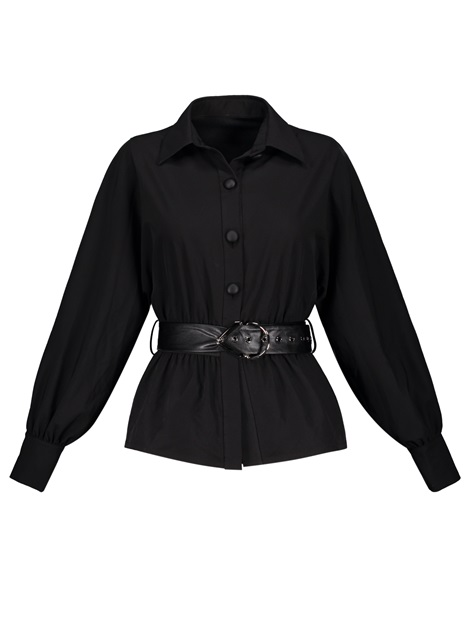 Plain Lapel Belt Lantern Sleeve Women's Shirt