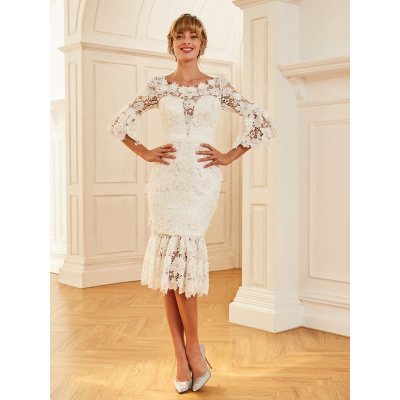 Charming Bateau Neck Lace Wedding Dress with Sleeves