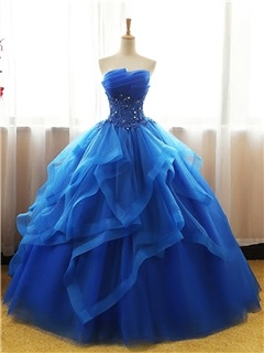 Strapless Appliques Beading Ball Gown Quinceanera Dress 1