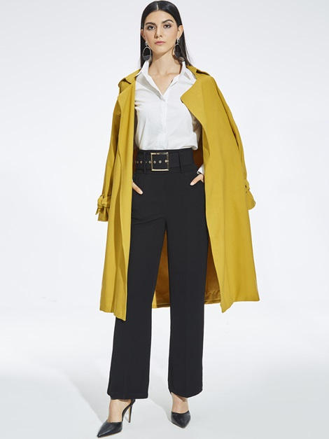 Notched Lapel Lantern Sleeve Long Trench Coat