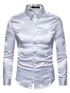 Solid Bright Color Lapel Single-Breasted Long Sleeve Slim Men's Casual Shirt 8