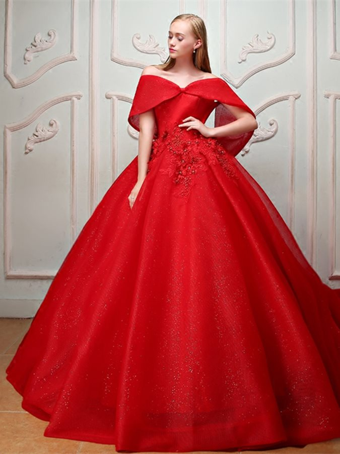 Beading Pearls Off-the-Shoulder Quinceanera Dress