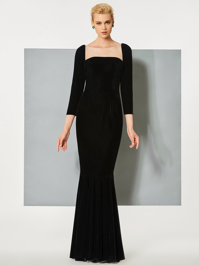 Bateau Mermaid Button Velvet Evening Dress