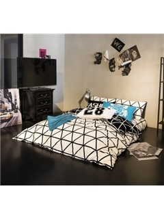 Wannaus White and Black Geometric Printing 4-Piece Duvet Cover Sets