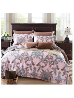 Wannaus Country Style Twinned Trunks 4-Piece Print Cotton Bedding Set