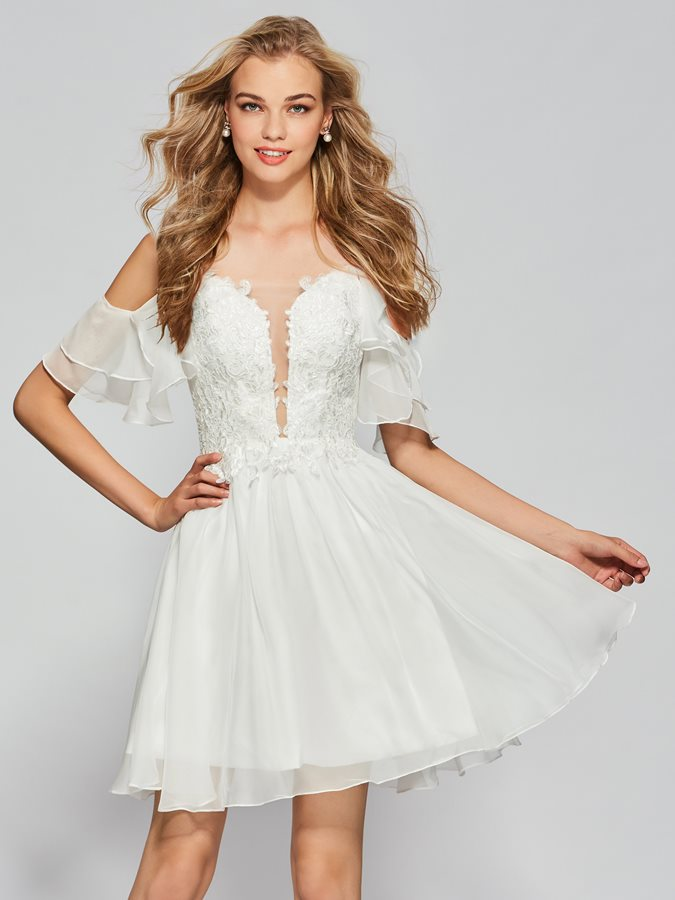 Spaghetti Straps Appliques Open Shoulder Ivory Homecoming Dress