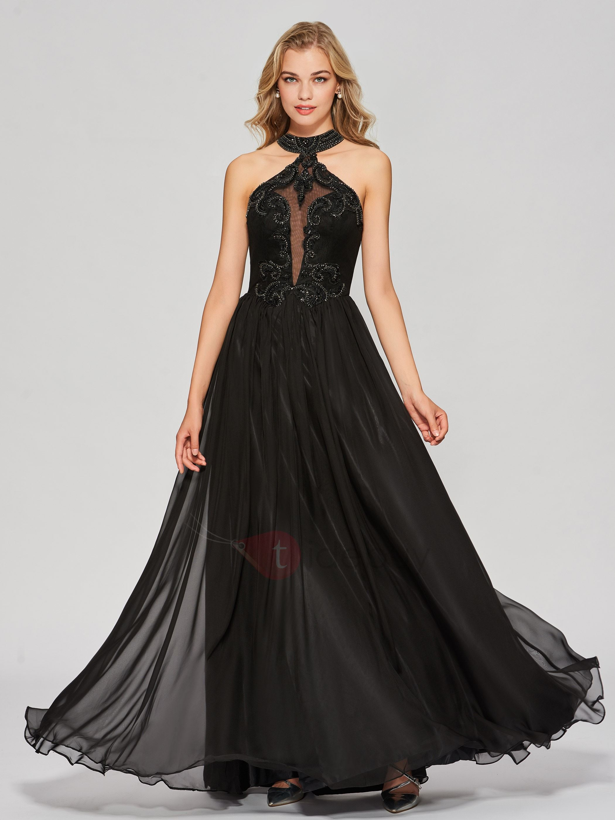 Simple A-Line Appliques Beading Backless Jewel Floor-Length Prom Dress