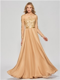 Gorgeous A-Line Long Sleeves Button Appliques Scoop Floor-Length Prom Dress