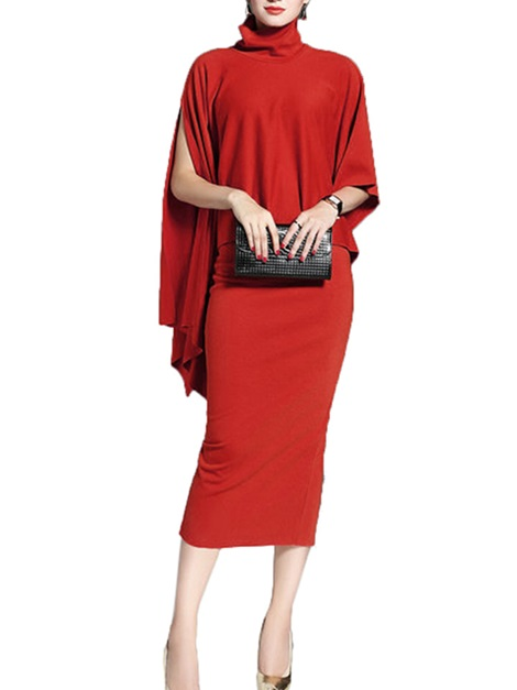 Red Short Sleeve Women's Bodycon Dress