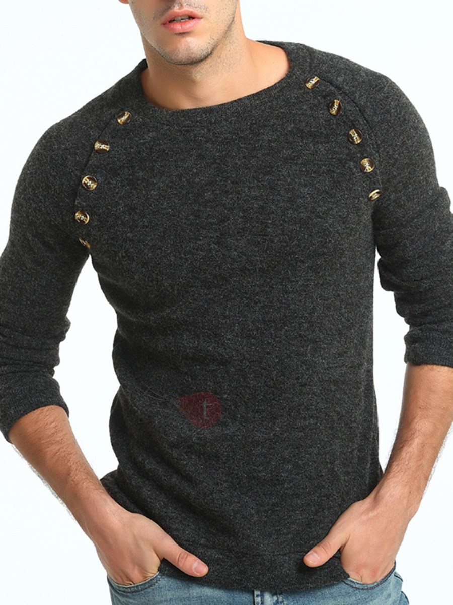 Image of Solid Color Mosaic Button Round Neck Slim Warm Mens Sweater