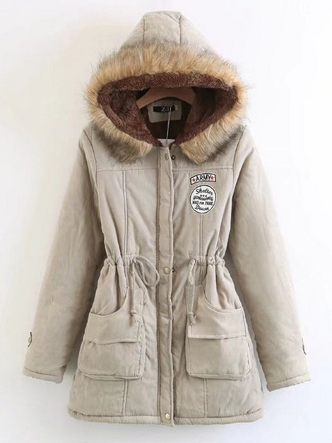 Hooded Lace-Up Mid-Length Women's Coat