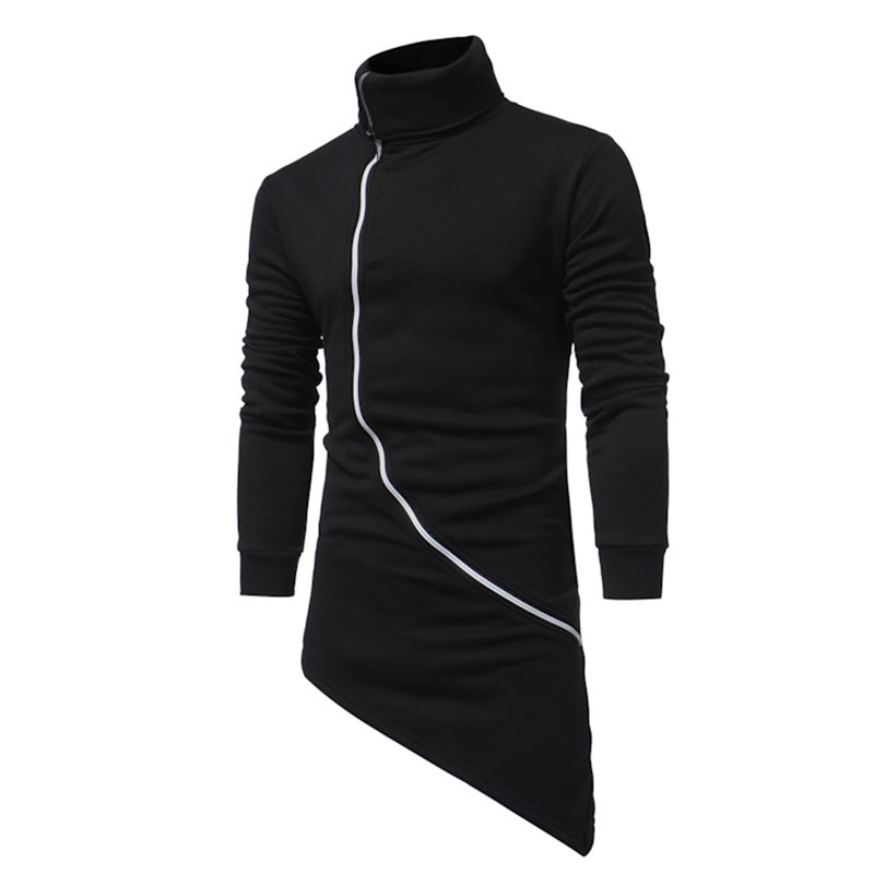 Tidebuy Plain Turtleneck Mid-Length Mens Hoodie