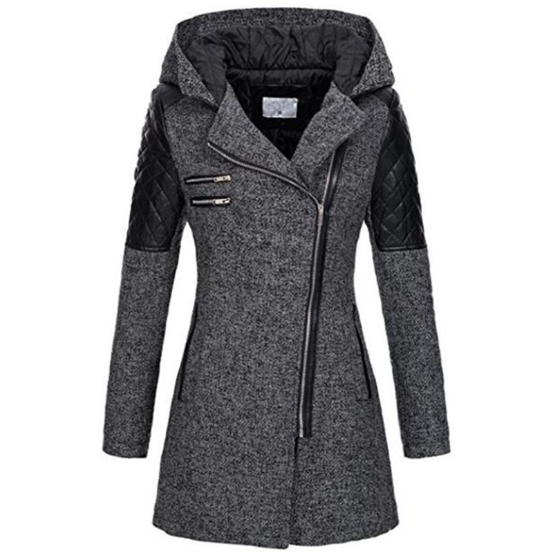 Color Block Winter Hooded Mid-length Zipper Womens Jacket tidebuy