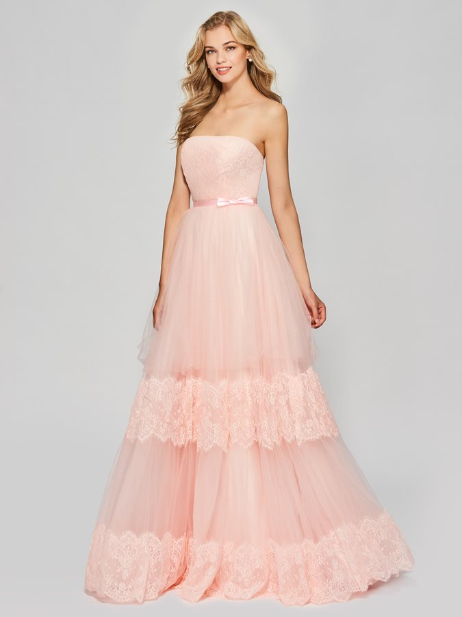 A-Line Strapless Appliques Bowknot Sashes Prom Dress