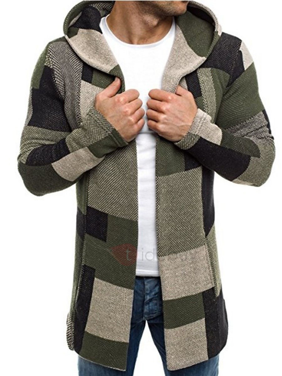 Image of Hooded Patchwork Color Block Slim Fit Mens Casual Coat