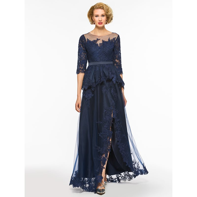 Appliques Split-Front Mother of the Bride Dress with Sleeve