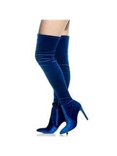 Faux Suede Side Zipper Pointed Toe Blue Boots