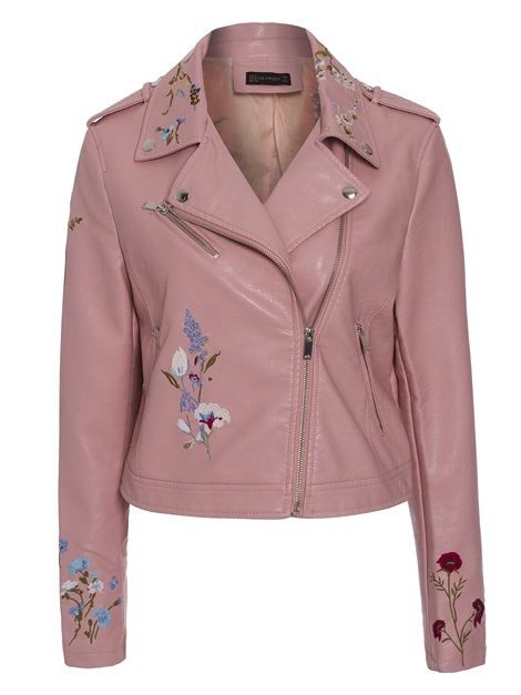 Lapel Floral Embroideried Women's PU Jacket