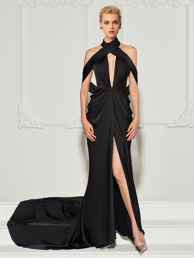 Simple A-Line Draped Halter Court Train Evening Dress