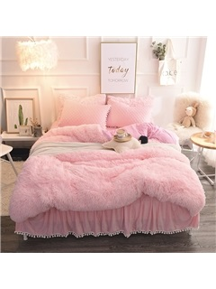 Wannaus Princess Style Solid Pink with Quilting Bed Skirts Thick Fluffy 4-Piece Bedding Sets 8