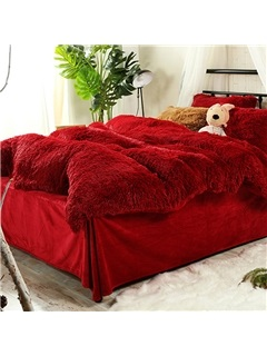 Wannaus Full Size Hot Red Super Soft Fluffy Plush 4-Piece Bedding Sets/Duvet Cover 7