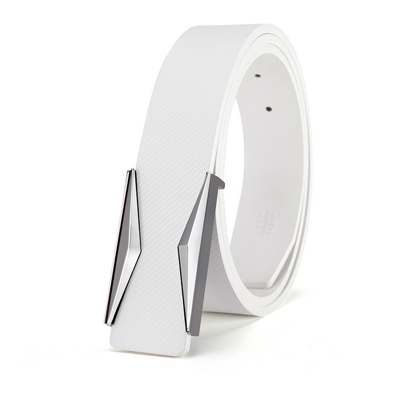 Pure White Metal Smooth Buckle Casual Mens Belts