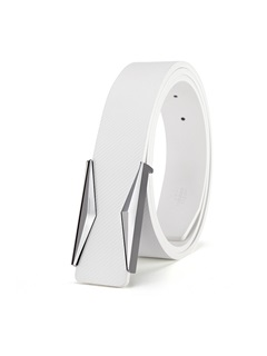 Pure White Metal Smooth Buckle Casual Men's Belts 2