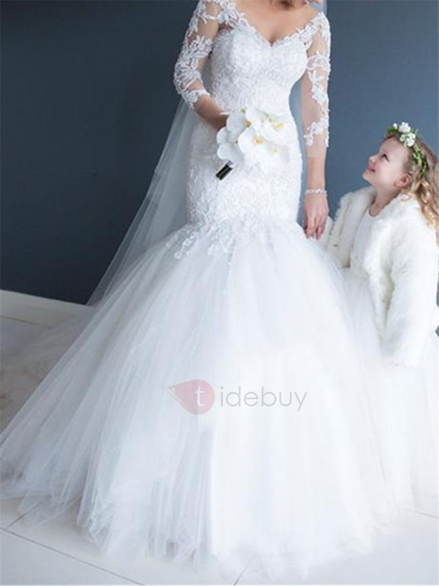 Ladylike V-Neck Appliques 3/4 Length Sleeves Mermaid Wedding Dress