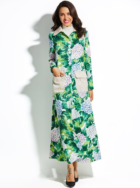 Polo Neck Floral Print Long A-line Women's Vacation Overcoat
