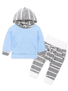 Striped Patchwork Long Sleeve Hoodie And Pant 2-Pcs Set