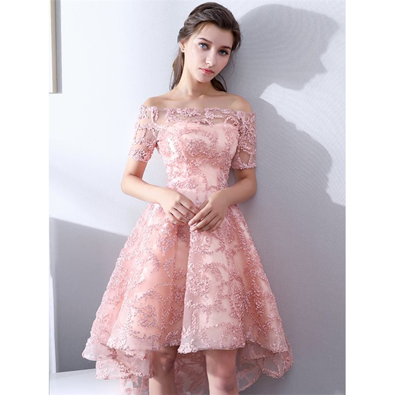 A-Line Off-the-Shoulder Lace Asymmetry Homecoming Dress
