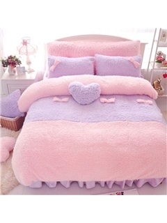 Wannaus Sweet Pink and Purple Color Block 4-Piece Velvet Duvet Cover Set 3