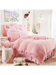 Wannaus Adorable Rose and Lace Embellishment Pink 4-Piece Velvet Duvet Cover Set