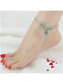 Fatima Hand Green Turquoise Rosary Anklets