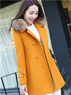 Long Sleeve Double-Breasted Plain Overcoat 12