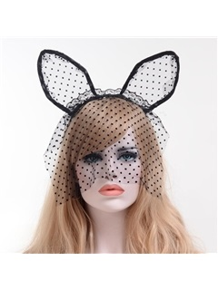 Cat Ear Lace Dots Mesh Halloween Hair Accessories 4
