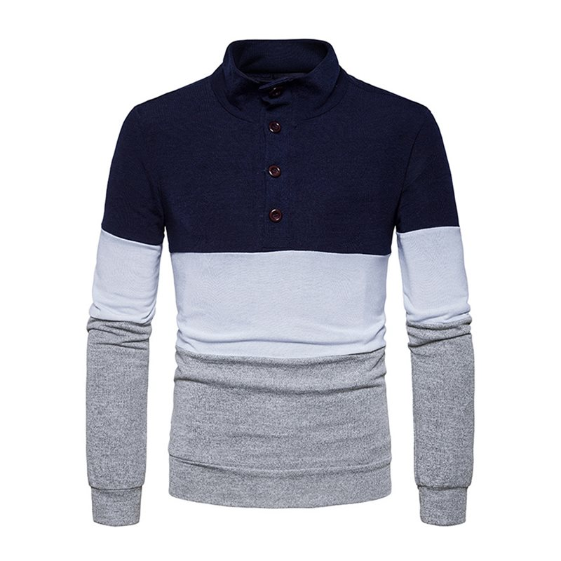 Stand Collar Patchwork Color Block Slim Mens Pullover Sweater