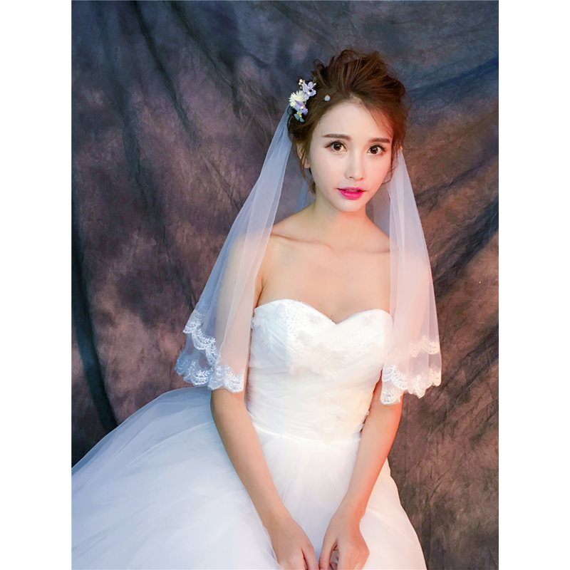 Lovely Two-Layer Appliques Edge Elbow Veil
