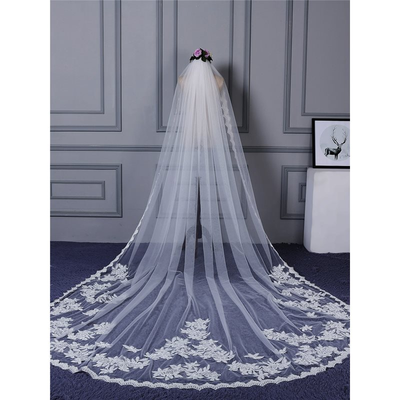 Amazing Lace Edge Appliques Wedding Veil