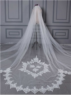 Unique Design Appliques Scalloped Edge Wedding Veil
