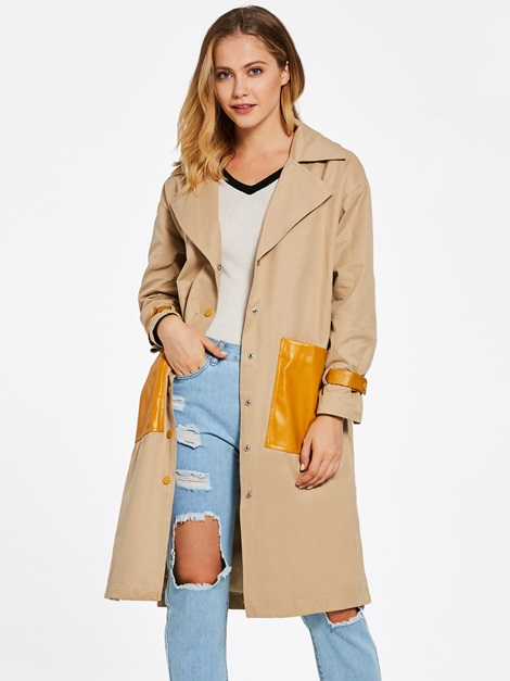 Notched Lapel Single-Breasted Color Block Women's Overcoat