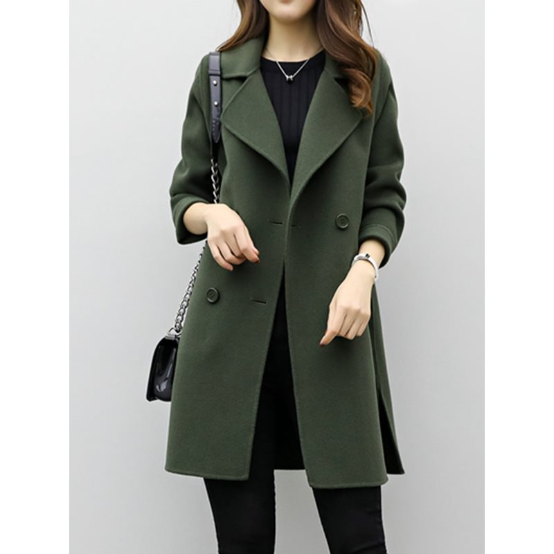 Купить со скидкой Mid-Length Plain Double-Breasted Trench Coat
