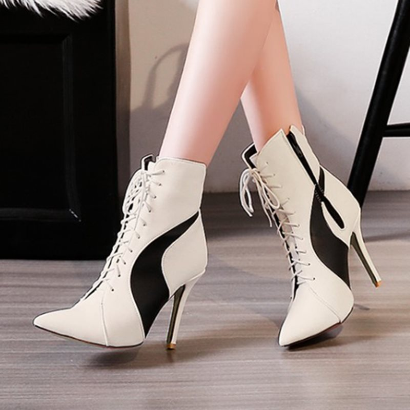 PU Pointed Toe Cross Strap Color Block Womens Boots