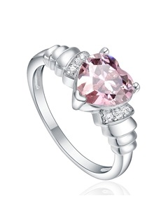 Pink Shaped Clear Diamond Stone 925 Silver Korean Style Rings