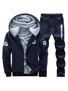 Hooded Fleece Two Piece Men's Tracksuit Outfit 46