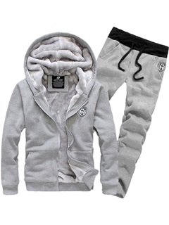 Hooded Solid Color Long Pant Thicken Men's Tracksuit Outfit 16