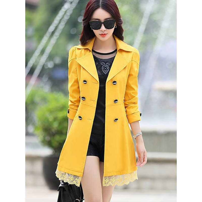 Lace Double-Breasted Winter Lapel Womens Trench Coat фото