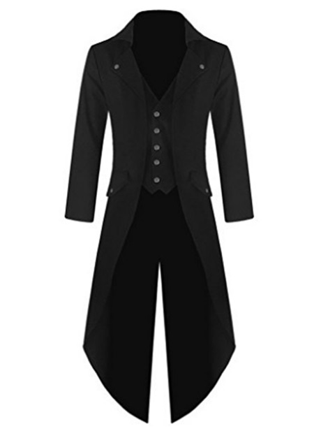 Lapel Plain Long Sleeve Single-Breasted Men's Trench Coat