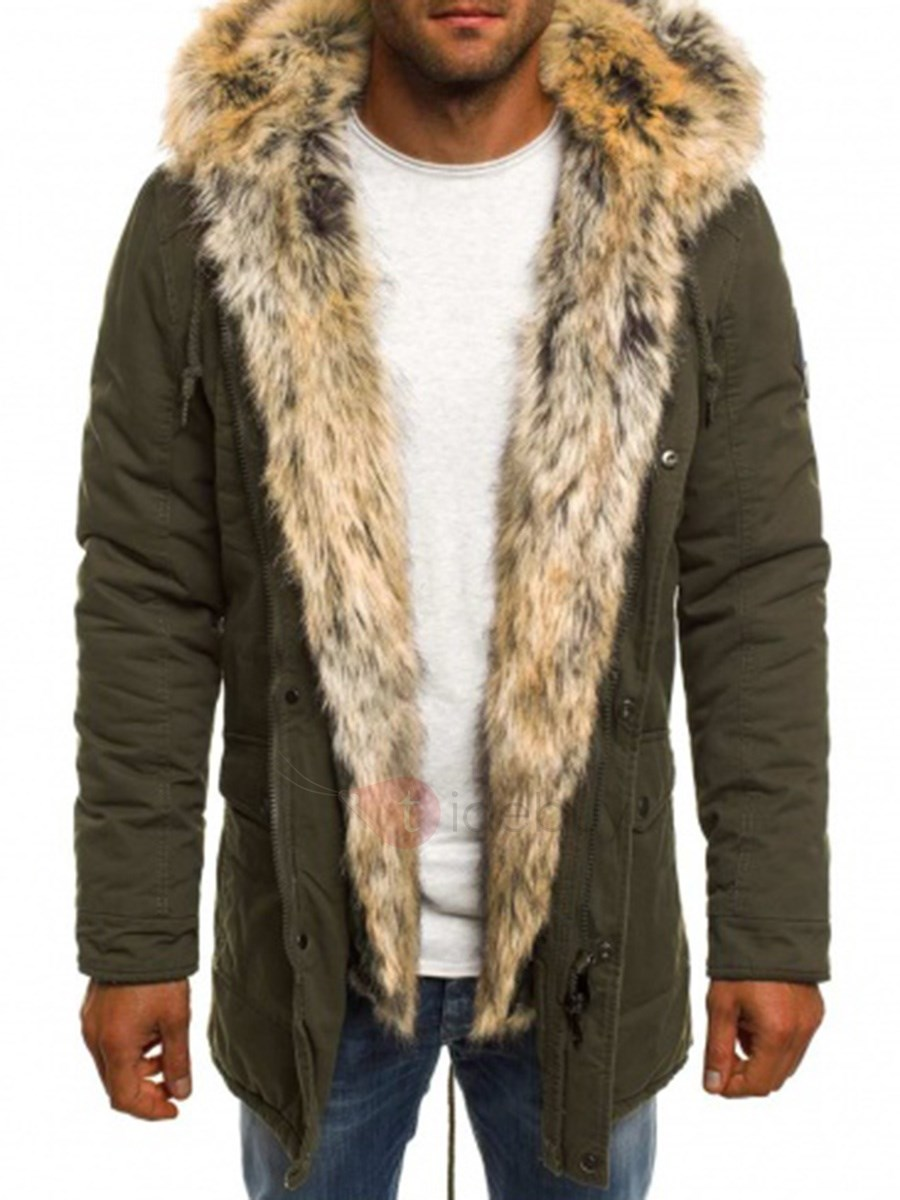 Hooded Thick Warm Zipper Straight Mid-Length Men's Winter Coat
