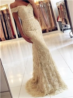 Gorgeous Trumpet Off-the-Shoulder Appliques Beading Button Lace Sweep Train Evening Dress